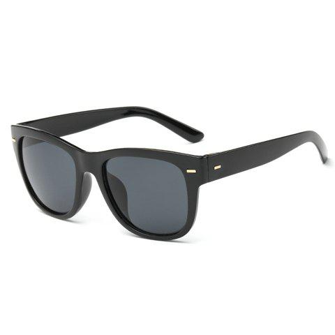 Stylish Short Stripe Shape Alloy Inlay Men's Black Sunglasses - BLACK