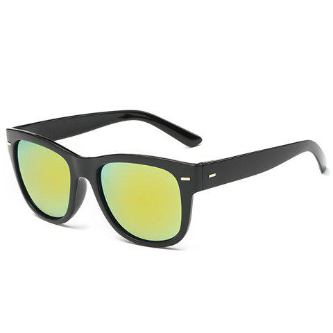 Stylish Short Stripe Shape Alloy Inlay Men's Black Sunglasses - YELLOW