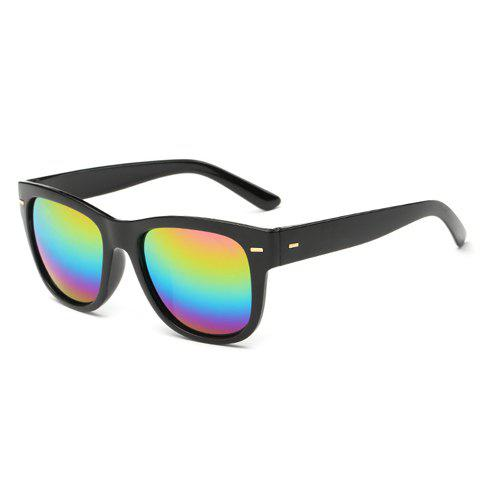Stylish Short Stripe Shape Alloy Inlay Rainbow Color Lenses Men's Black Sunglasses - BLACK