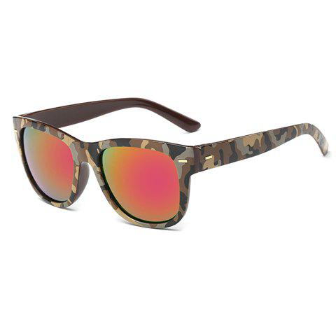 Stylish Short Stripe Shape Alloy Inlay Camouflage Pattern Men's Sunglasses - LIGHT COFFEE