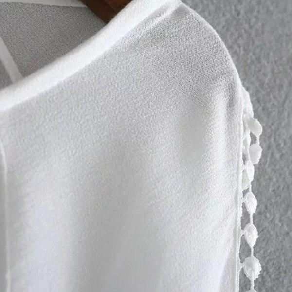 Sweet Style Scoop Collar Long Sleeve Laciness Hollow Out Women's White Blouse - WHITE L