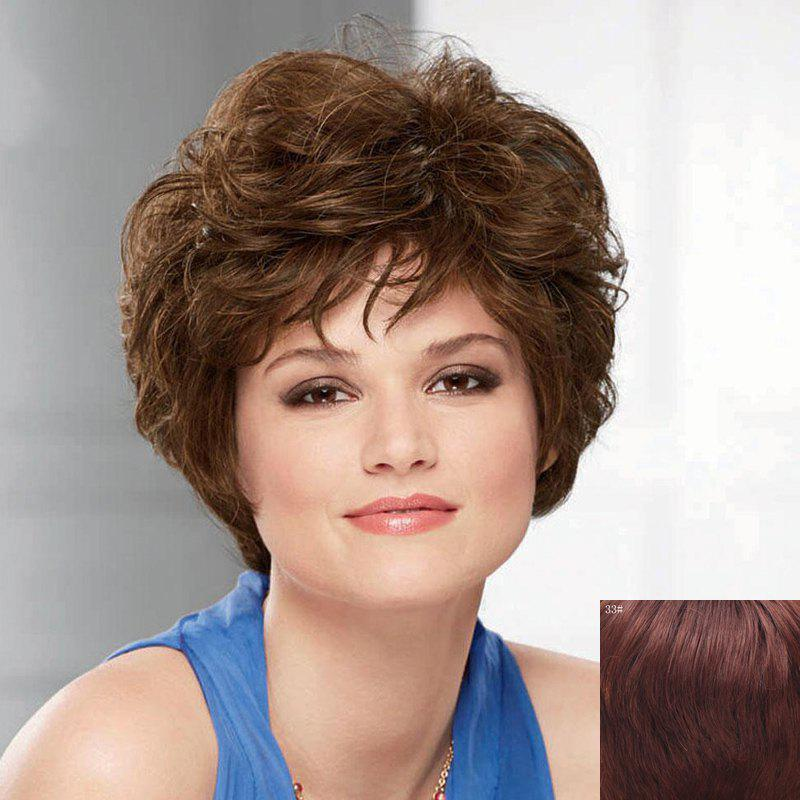 100 Percent Human Hair Fluffy Short Wave Capless Noble Side Bang Wig For Women