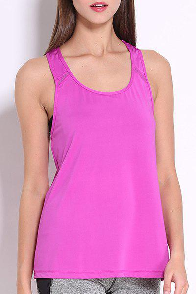 Simple Design Round Collar Women's Sport Tank Top - PURPLE L