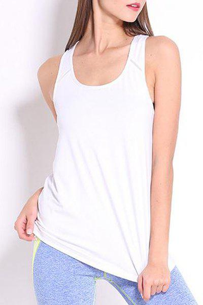 Simple Design Round Collar Women's Sport Tank Top - WHITE S