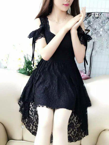 Trendy Women's Sweetheart Neck Short Sleeve Lace Asymmetrical Dress - BLACK L