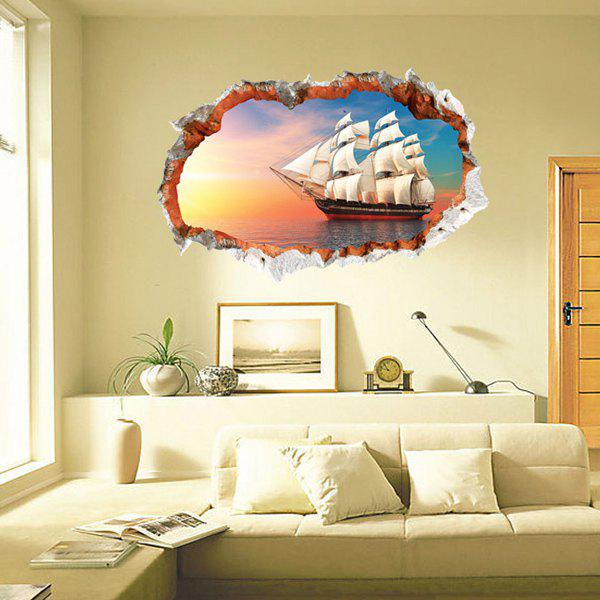 Autocollant Mural Motif Chic 3D Sailing Ship Pour Salon Chambre Décoration - multicolore