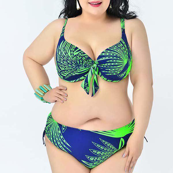Simple Women's Spaghetti Strap Leaves Print Bikini Set - BRIGHT GREEN 2XL