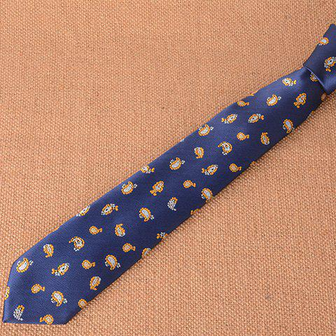 Stylish Ethnic Small Paisley Pattern 5CM Width Men's Deep Blue Tie - DEEP BLUE