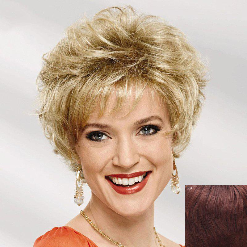 Stylish Short Side Bang Shaggy Curly Capless Real Human Hair Wig For Women - DARK AUBURN BROWN