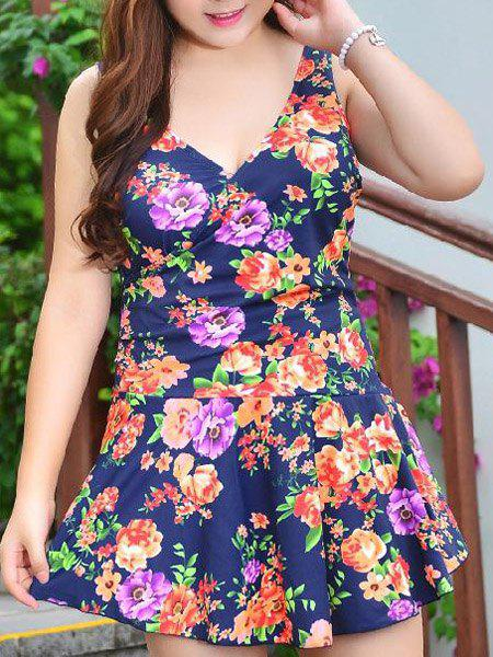 Cute Sleeveless V-Neck Floral Print One-Piece Women's Swimwear - COLORMIX 3XL