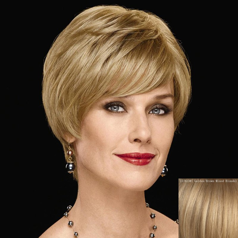 Graceful Inclined Bang Capless Fashion Short Straight Women's Human Hair Wig - GOLDEN BROWN/BLONDE