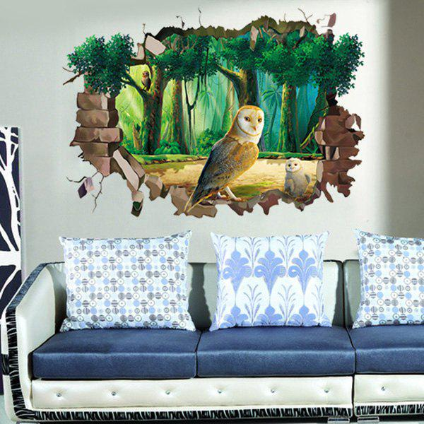 Chic 3D Night Owl Forest Pattern Wall Sticker For Livingroom Bedroom Decoration