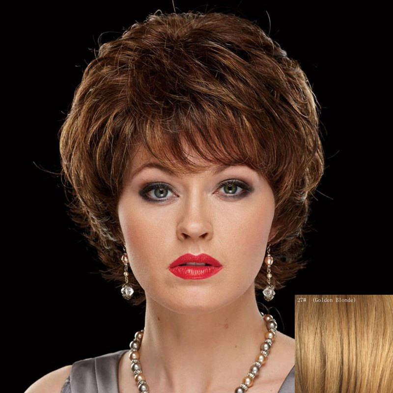 Bouffant Wave Capless Ladylike Side Bang Human Hair Wig - GOLDEN BLONDE