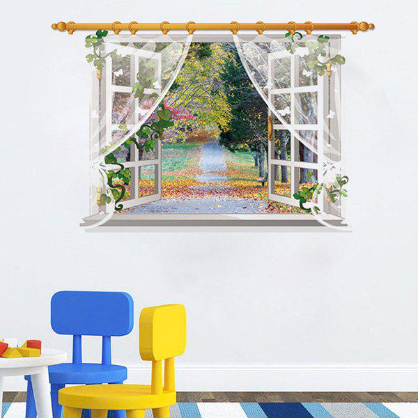 Chic 3D Window Grove Landscape Pattern Wall Sticker For Livingroom Bedroom Decoration - COLORMIX