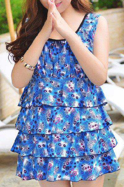 Elegant Sleeveless U-Neck Layerd Ruffled Womens SwinsuitWomen<br><br><br>Size: 3XL<br>Color: BLUE