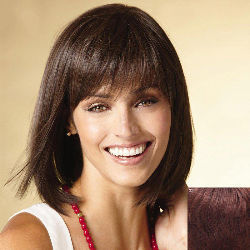 Bob Style Short Stunning Straight Side Bang Capless Human Hair Wig For Women