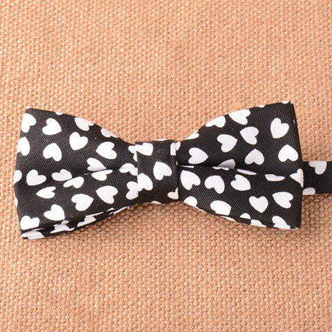 Stylish White Heart Pattern Men's Black Bow Tie - BLACK