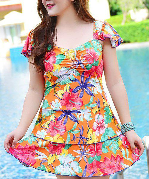 Sweet Dolman Sleeves Square Neck Layered Women's Swimsuit
