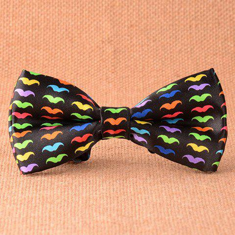 Stylish Multicolor Mustache Pattern Men's Black Bow Tie - BLACK