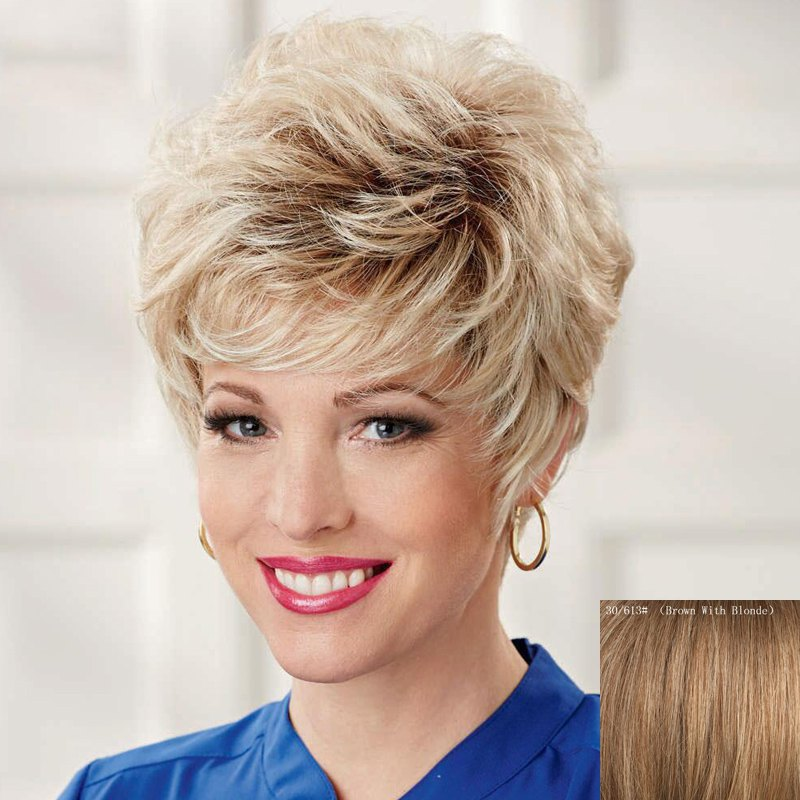 Shaggy Short Curly Ladylike Side Bang Capless Real Natural Hair Wig For Women - BROWN/BLONDE