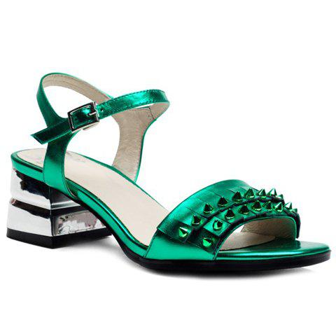 Stylish Rivets and Chunky Heel Design Women's Sandals - GREEN 38