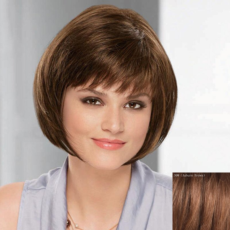 Trendy Short Inclined Bang Bob Style Straight Capless Real Natural Hair Wig For Women - AUBURN BROWN