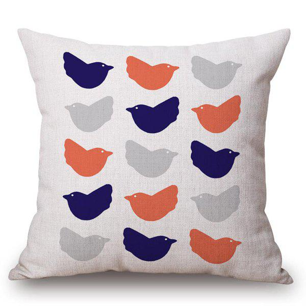 Stylish Simple Birds Pattern Square Shape Flax Pillowcase (Without Pillow Inner) - COLORMIX