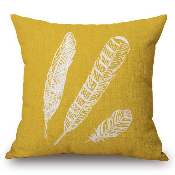 Stylish Feathers Pattern Square Shape Flax Pillowcase (Without Pillow Inner)