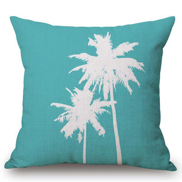 Stylish Coconut Palm Pattern Square Shape Flax Pillowcase (Without Pillow Inner) - TURQUOISE