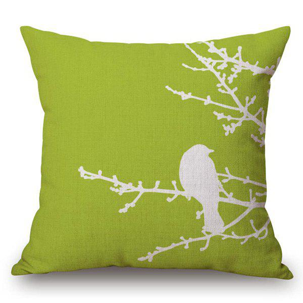Stylish Bird Pattern Square Shape Flax Pillowcase (Without Pillow Inner) - CELADON
