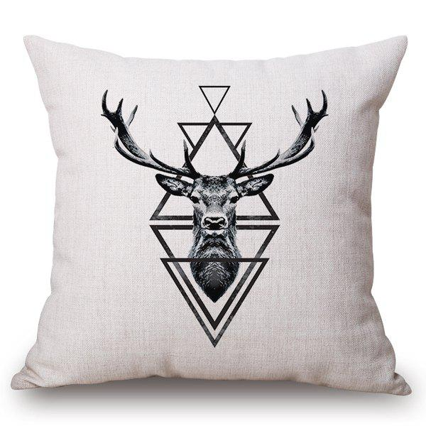 Stylish Deer and Triangle Pattern Square Shape Flax Pillowcase (Without Pillow Inner)