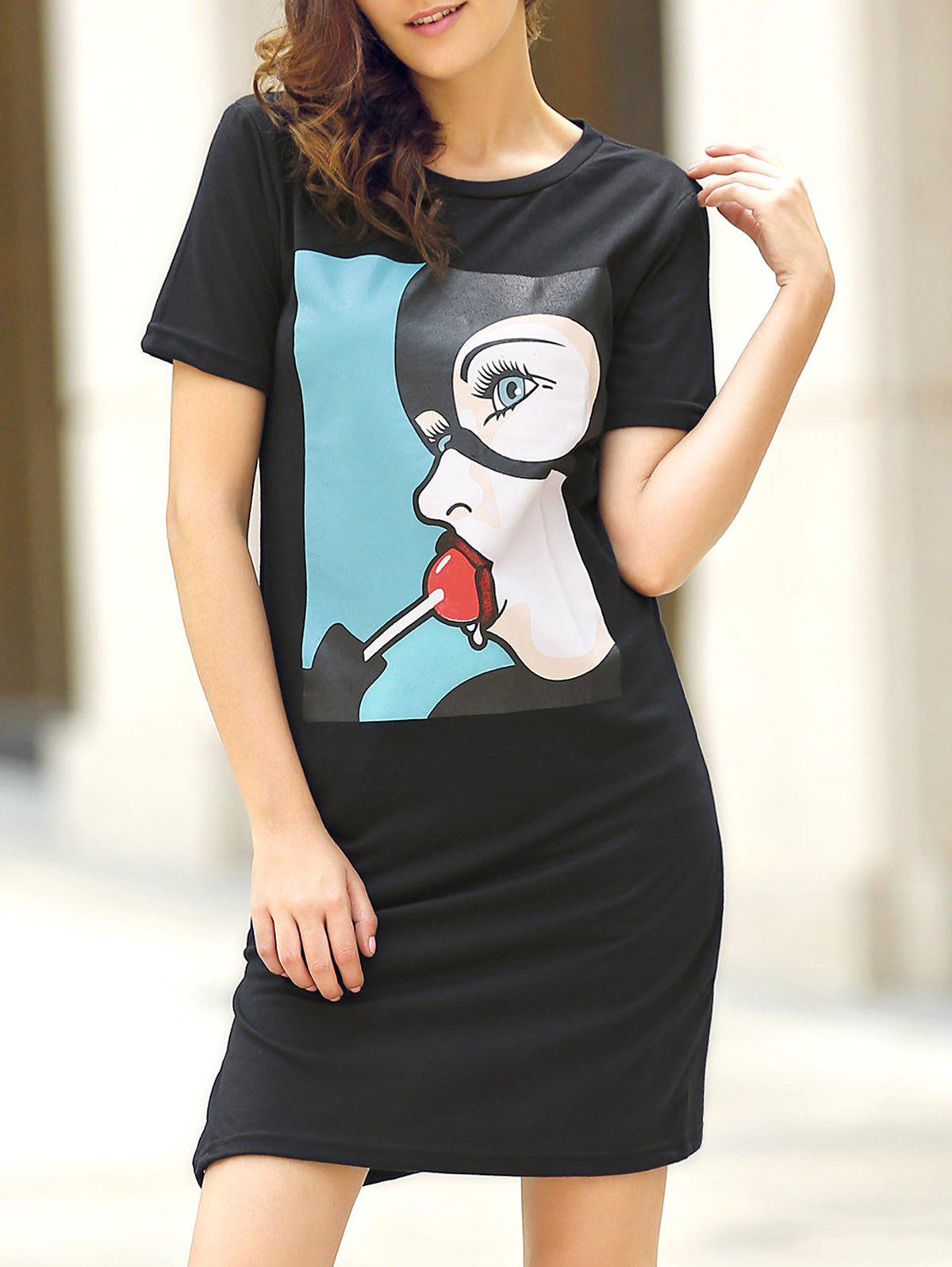 Casual Women's Round Collar Cartoon Print Short Sleeve Dress - BLACK L