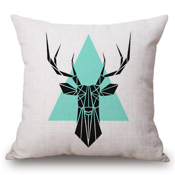 Stylish Geometric Deer and Triangle Pattern Square Shape Flax Pillowcase (Without Pillow Inner) - COLORMIX