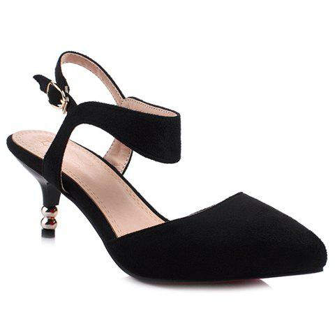 Stylish Suede and Solid Colour Design Women's Sandals - BLACK 39