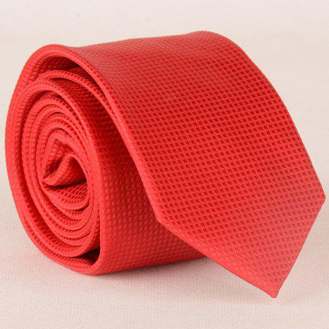 Stylish Small Lattice Pattern 6CM Width Men's Red Tie - RED