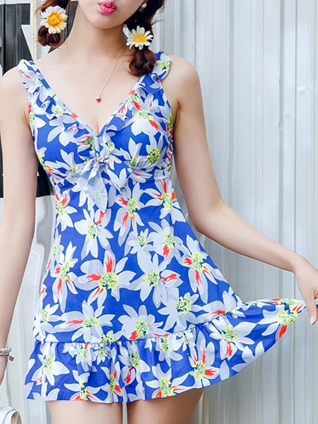 Endearing Floral Print Flounced One-Piece Swimwear For Women