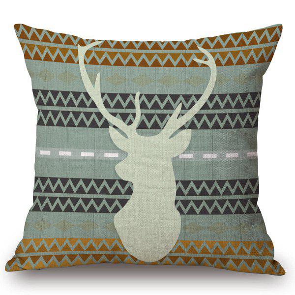 Stylish Deer Contour Pattern Square Shape Flax Pillowcase (Without Pillow Inner) - COLORMIX