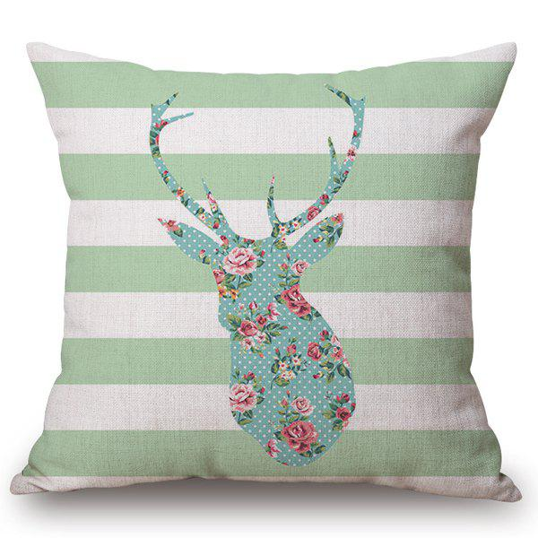 Stylish Floral Deer Striped Pattern Square Shape Flax Pillowcase (Without Pillow Inner) -  COLORMIX