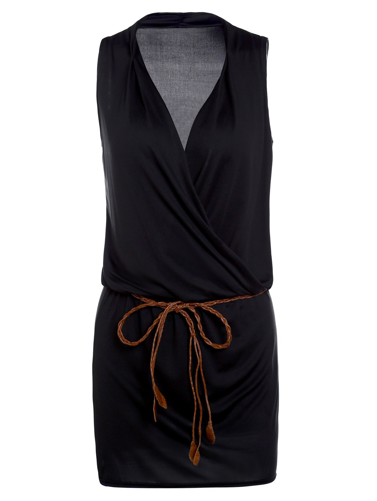 Casual Women's Plunging Neck Black Sleeveless Dress - BLACK S