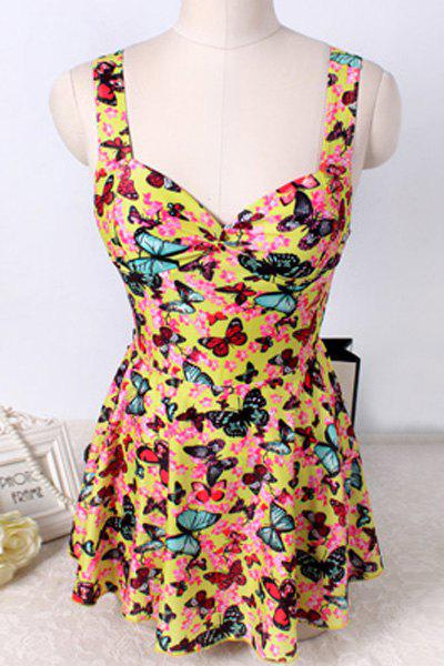 Cute Butterfly Print Cut Out One-Piece Swimwear For Women