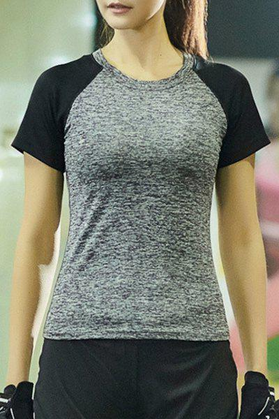 Casual Round Collar Short Sleeves Color Block Women's Sport T-Shirt - SMOKY GRAY L