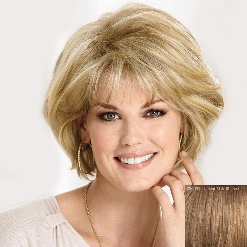 Graceful Inclined Bang Short Capless Fluffy Wave Women's Real Human Hair Wig - BROWN/BLONDE
