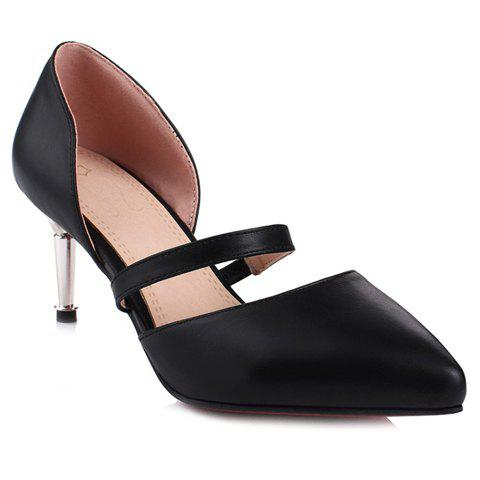 Stylish Stiletto Heel and Solid Colour Design Women's Pumps - BLACK 35