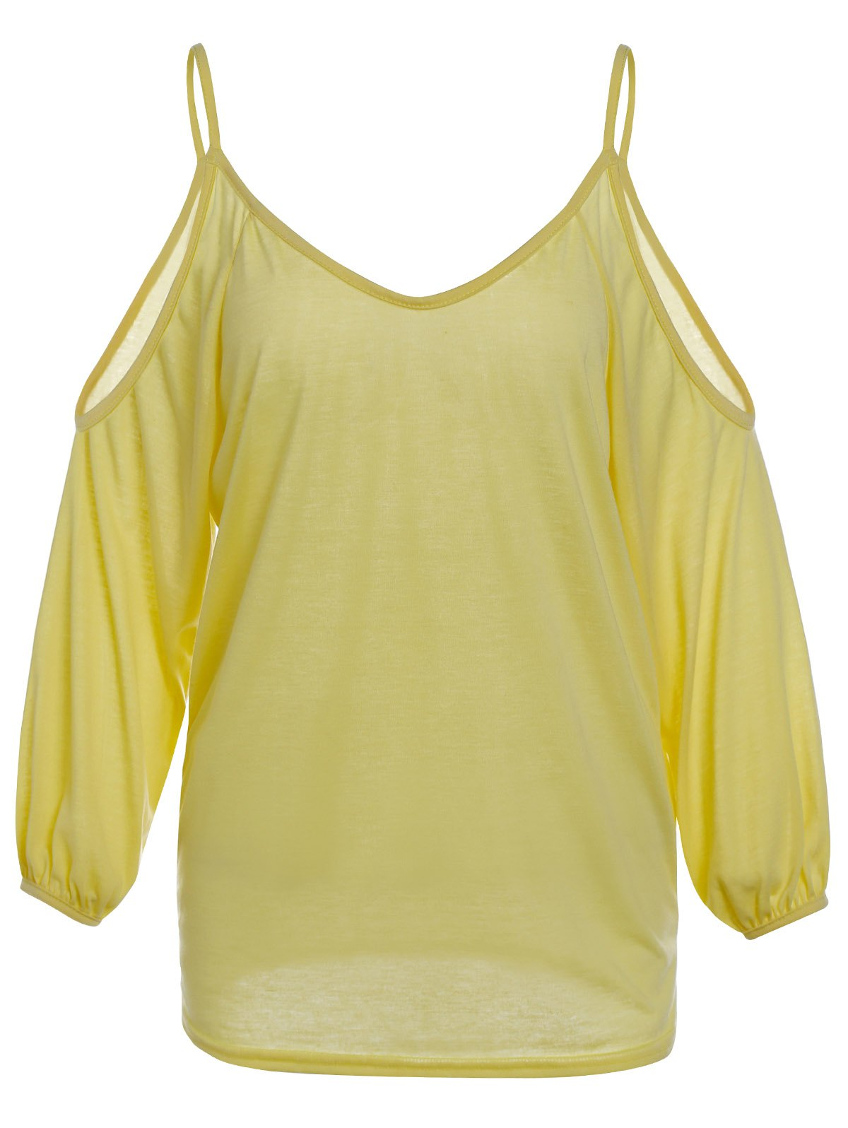 Stylish Women's Spaghetti Strap Yellow Long Sleeve T-Shirt