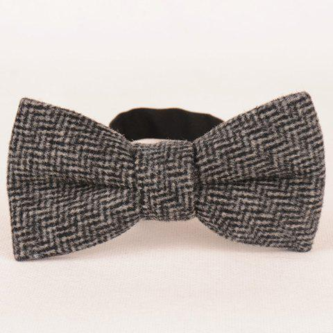 Stylish Men's Faux Wool Wavy Striped Bow Tie - BLACK