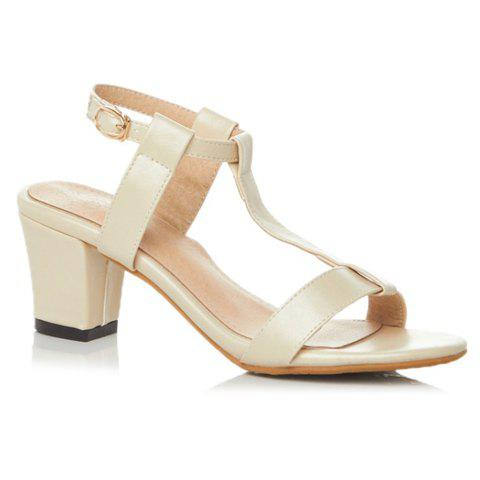 Trendy T-Strap and Chunky Heel Design Women's Sandals - BEIGE 36
