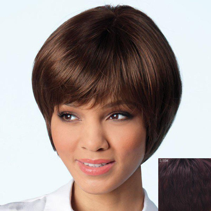 Elegant Side Bang Capless Trendy Short Haircut Straight Human Hair Wig For Women - RED MIXED BLACK