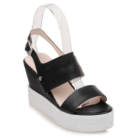 Trendy Platform and Wedge Heel Design Women's Sandals - BLACK 34
