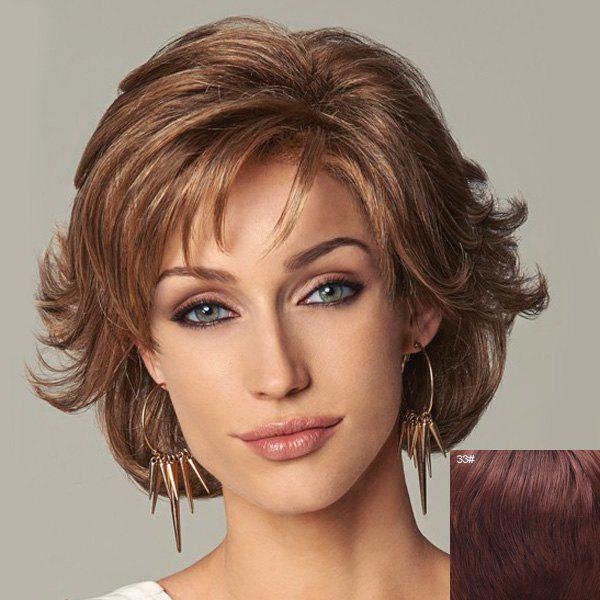 Noble Short Side Bang Fluffy Wavy Anti Alice Hair Capless Human Hair Wig For Women - DARK AUBURN BROWN