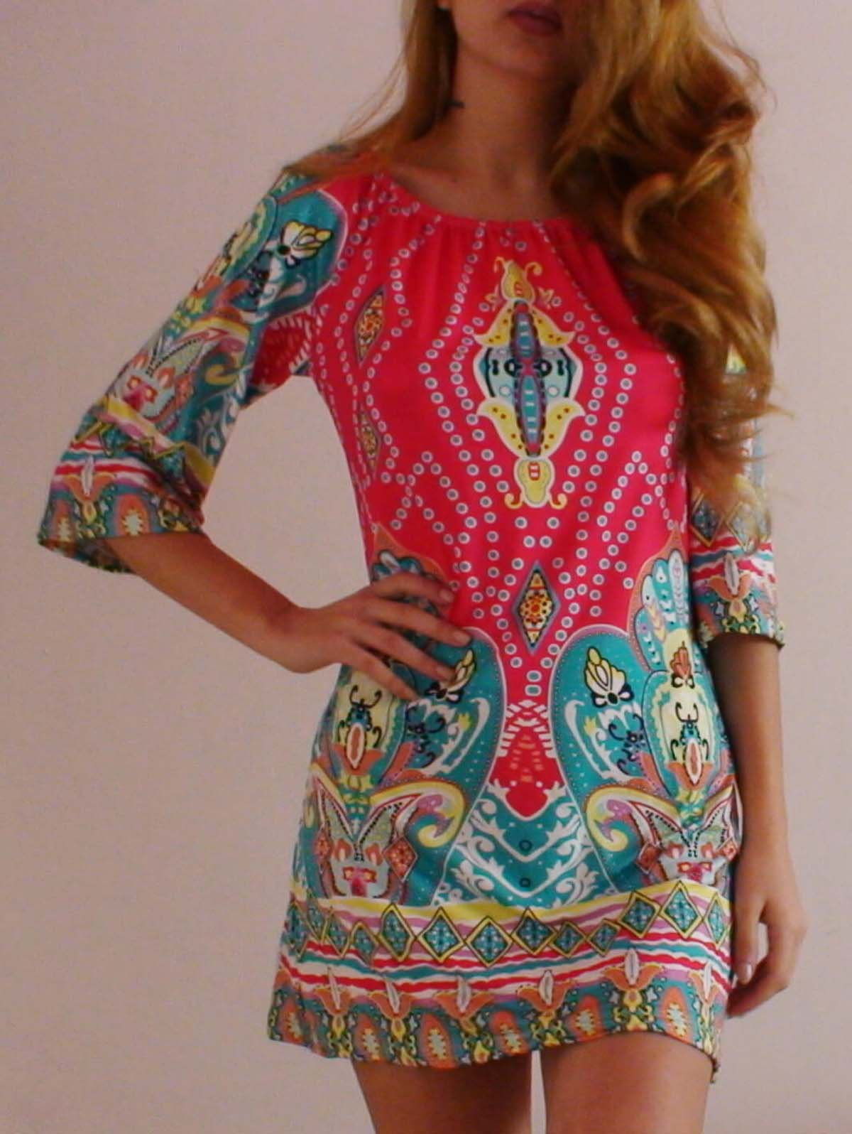 Bohemian Style Women's Off The Shoulder 3/4 Sleeve Printed Dress - COLORMIX M